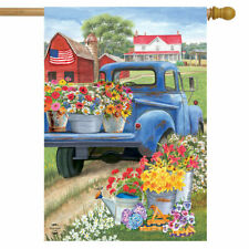 #F DAY ON THE FARM FLOWERS PATRIOTIC BLUE FARM TRUCK HOUSE FLAG 28X40 BANNER