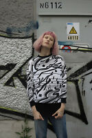 Damen Pullover jUMPER Longshirt 80er TRUE VINTAGE 80s woman sweater schwarz weiß