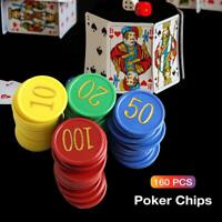 160pcs Plastik Poker Chips Spielmarken Doppelseitige Digital Casino Poker Chips