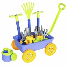 Garden Wagon & Tools Toy Set for Kids with 8 Gardening Tools, 4 Pots, Water Pail