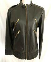Priorities Black Lamb Leather Gold Zip-Front Moto Jacket Size L