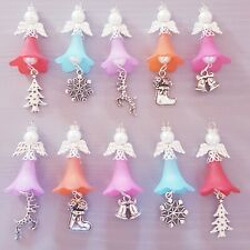 10 GUARDIAN ANGEL CHARMS 50mm APPROX bright silver wings beads rhinestones