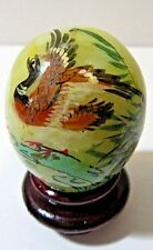 Pheasant Duck Bird Hand Painted Gemstone Egg Wood Stand Miniature Collectible