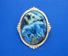 Dolphin Porcelain Mom & Baby Dolphins Cameo Costume Jewelry Pin Brooch Pendant