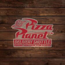 Pizza Planet Delivery Shuttle Logo on Clear (Toy Story) Decal/Sticker