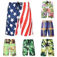 Mens Summer Shorts Elastic Waist Boardshorts Casual Beach Loose Shorts Quick Dry