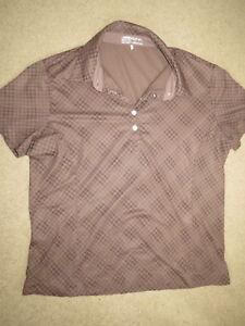 GREAT Nike Golf brown patterned short-slv lightweight shirt - womens L 12-14
