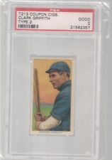 1914 T213 - 2 COUPON CIGARETTES CLARK GRIFFITH PSA 2  HOF