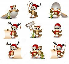 36 water slide nail art transfers decals Christmas mix Owls 3/8 th inch Trending