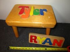 lot of 2 hand crafted early childhood wood cut-out letter toys TAYLOR bench RYAN