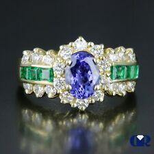 Natural 2.48 Ct Tanzanite Emerald & Diamond Cocktail Ring Right Hand Ring 14Kwg