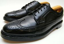 MENS VTG FLORSHEIM 96624 BLK VCLEAT 5 NAIL LONG WING TIP OXFORD DRESS SHOES 9 B