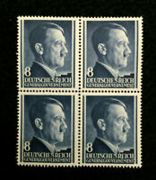 Authentic Germany WWII Stamp Block MNH 8 GR / Occupied Poland World War 2 Era