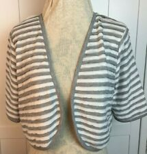 Per Una M&S - Bolero Shrug Cardigan - Size 16 - Grey white -striped jersey top J