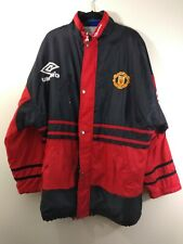 Official Manchester United Umbro Sideline Jacket / Coat Lined Quilted Size Large