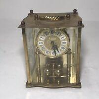 Battery Concordia German Quartz Gold Finish Benchmark Clock w Glass Box & Handel