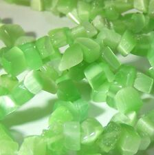 Cats Eye Chip Beads Spring Green Tree of Life Glass Small Loose Beads Strand