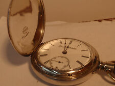 Large 18SZ Elgin Pocket Watch in Coin Silver Hunters Case +fob- Runs Good