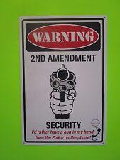 tin metal advertising burglar alarm warning gun ammo pistol 2nd amendment 4