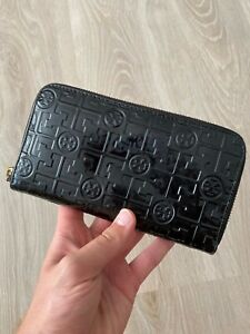 Tory Burch Monogram Logo Patent Leather Black Long Zip Around Wallet Purse