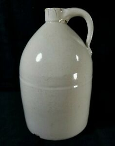 Antique Late 1800s Sm Unmarked Off White Stoneware Jug 8.7x5.5 Inch From MA GOOD