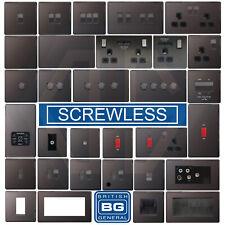 BG Nexus Black Nickel Screwless Flatplate Switches & Sockets Black Inserts
