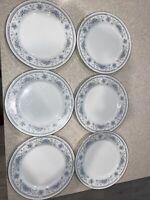 "6 AMERICAN LIMOGES China Salem Heritage BRIDAL BOUQUET 10 1/4"" Dinner Plates"