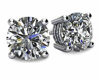 4.0 CT Diamond Earrings Round Cut Basket Butterfly Back Lab Solid 14K White Gold