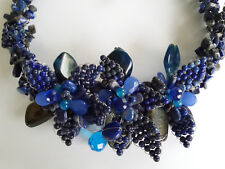 Large Sterling Silver Lapis Banded Agate Blue Onyx Hand Woven Garland Necklace