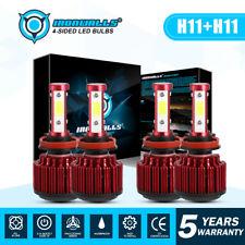 IRONWALLS LED Headlight 2Pair H11 Bulbs Kit Hi-Lo Beam Conversion Kit Car Lamp