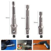 """3x Hex Shank Square Head Drill Bits Screw Driver Socket Adapter 1/4"""" 3/8"""" 1/2"""""""