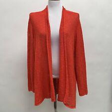 Eileen Fisher Women's Sweater Size 1X 2X 3X Burnt Orange Open Front Linen Blend