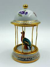 FRENCH LIMOGES  - Gorgeous Peacock in Cage 11cm - Very Good