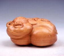 Boxwood Hand Carved Netsuke Sculpture Miniature Lovely Fat Piggy #06011706