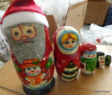 Russian hand painted wood  Santa snowmaiden snowman tree 5 pcs nesting doll 6.5""