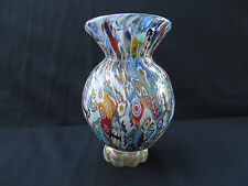 "Murano Hand Blown Glass Millefiori Vase with Gold Washed Signed & Numbered 7""H"