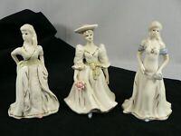 Vintage Porcelain Female Figurines Victorian Ladies Styling K's Collection 3 pcs