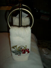 CROSCILL HOME 2 RING BRASS TOWEL VANITY STAND WITH 2  FINGERTIP TOWELS NWT