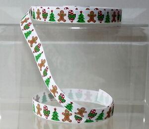 "Christmas Printed Grosgrain Ribbon 16mm (5/8"") wide 1m 2m 5m Gingerbread Man"