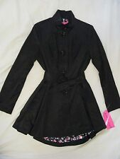Betsey Johnson 'Fit & Flare' Black Trench Coat Jacket Sz S - Beautiful NWT