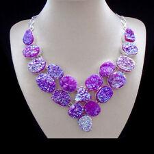 Titanium Druse, lila, violett, Kette, Halskette, Collier, Silber plattiert