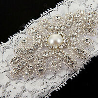 Bridal Vintage Crystal Pearl Wedding Garter White Lace Bride Prom Hen Party E7X