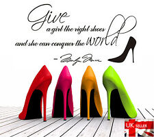 Wall words stickers quote Art Deco Home Give a Girl the Right Shoes