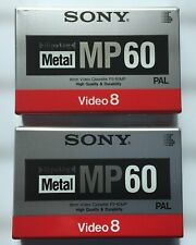 2 SONY Metal MP 60 Video 8  Video Cassette Camcorder Tape PAL - New & Sealed