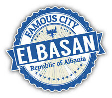 "Elbasan City Albania Grunge Travel Stamp Car Bumper Sticker Decal 5"" x 4"""