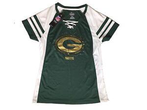 Women's Green Bay Packers NFL Majestic Jersey Sequin Top MEDIUM NWT