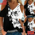 Womens Floral V Neck Cold Shoulder Tunic Tops Summer Casual Loose T-Shirt Blouse