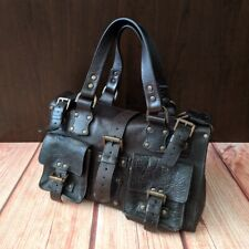 VTG Authentic Mulberry Roxanne Dark Brown Leather Bag Buckles Satchel