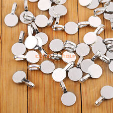 50PCS 10mm Round Glue on Bails Setting Bail FOR Necklace Pendant Loop