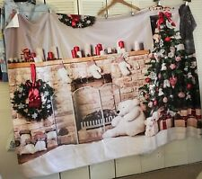 Kate 5 X 7 Velour Christmas Photo Backdrop Fireplace Tree Wreath White Bear